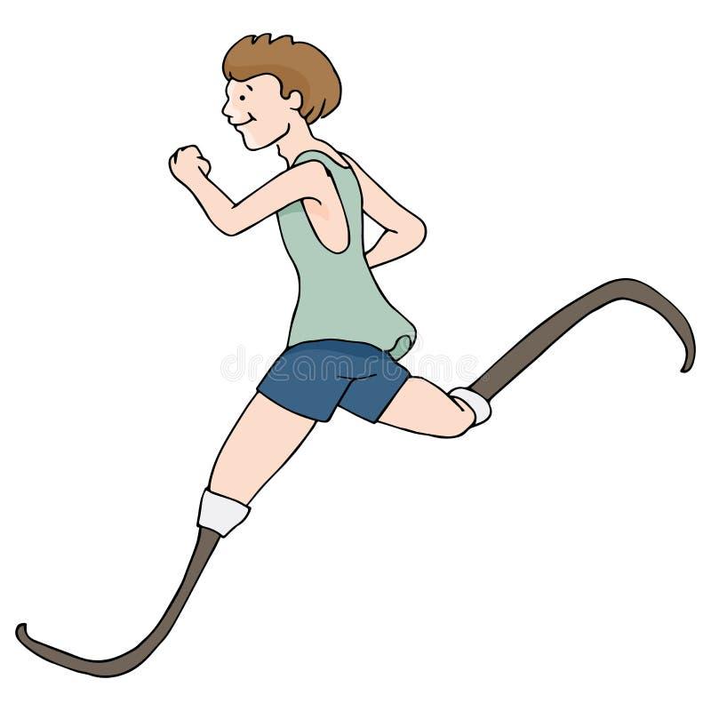 Prosthetic lagd benen på ryggen löpare stock illustrationer