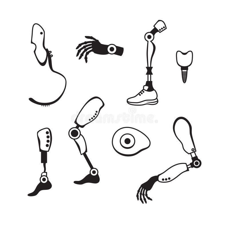 Prosthetic lemmar sänker symboler Prosthetic mekanism för modern exoskelett Cyberprotes stock illustrationer