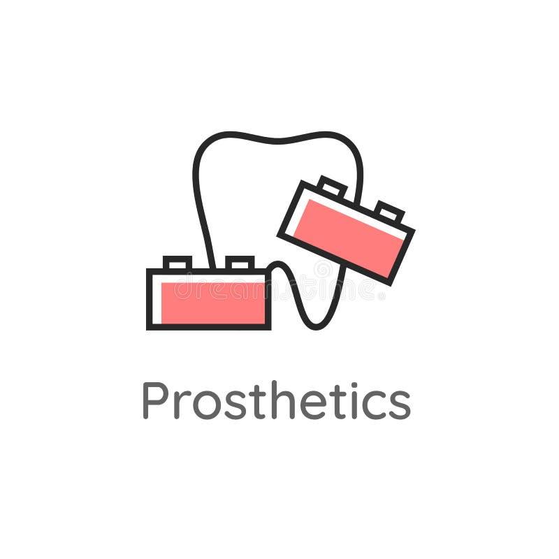 prosthetics Dente con l'insieme dei blocchi Icona dentale Logo o illustrazione di stomatologia linea stile royalty illustrazione gratis