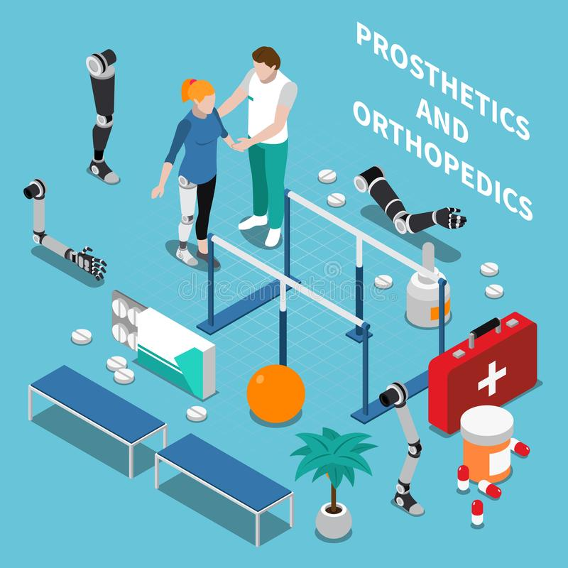 Prosthetics en Orthopedie Isometrische Samenstelling vector illustratie