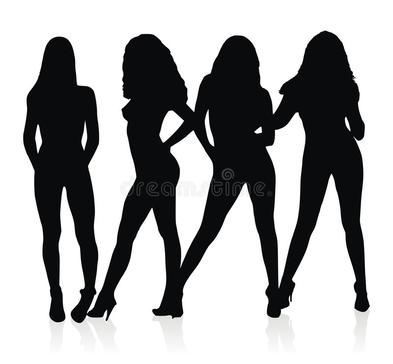 Prostitutes Silhouettes Stock Images