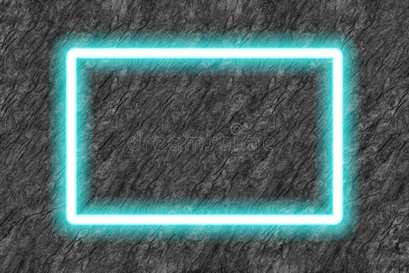 prostokąt neonowej tubki błękitna rama na czerń kamienia tle royalty ilustracja