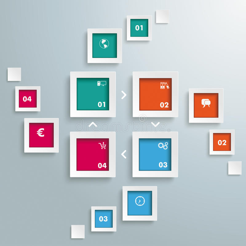 4 prostokątów sztandarów cyklu błysk royalty ilustracja
