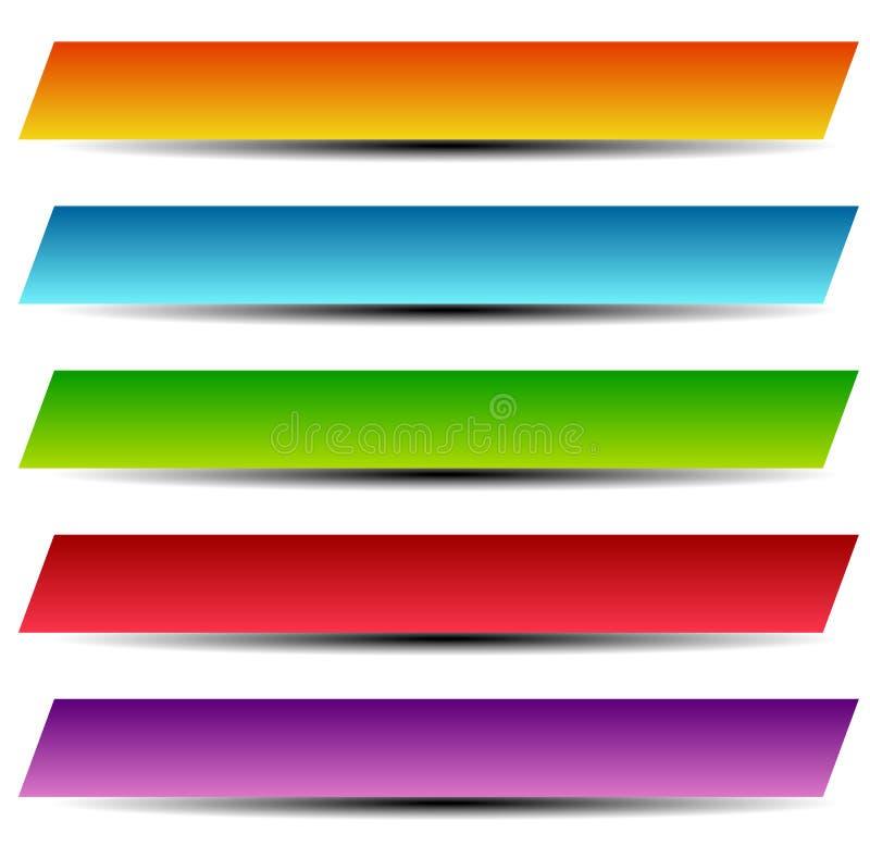 Prostokątów sztandary zapinają, etykietki w kilka/kolor royalty ilustracja