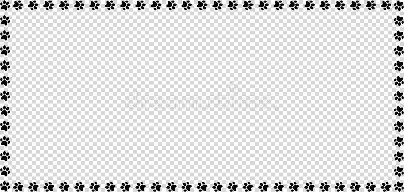 Prostokąt rama robić czarni zwierzęcy łapa druki na przejrzystym tle royalty ilustracja