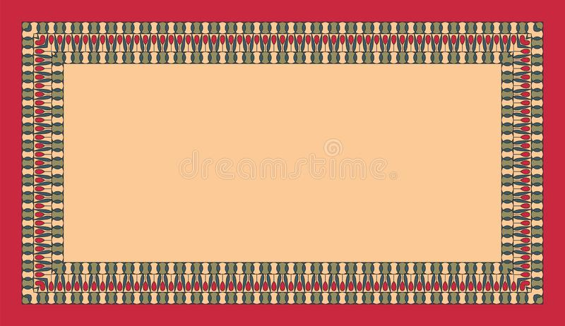 Prostokątna etniczna rama Opróżnia przestrzeń dla twój teksta california plakatowy parostatków rocznik Kolorowi elementy na oliwn ilustracji