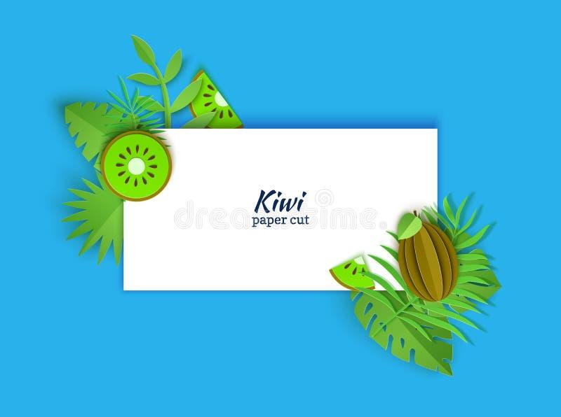Prostokątny biel notatki prześcieradło dekorujący z dżungla papieru cięcia zielenią opuszcza i kiwifruit Aplikacyjny cały i kawał royalty ilustracja