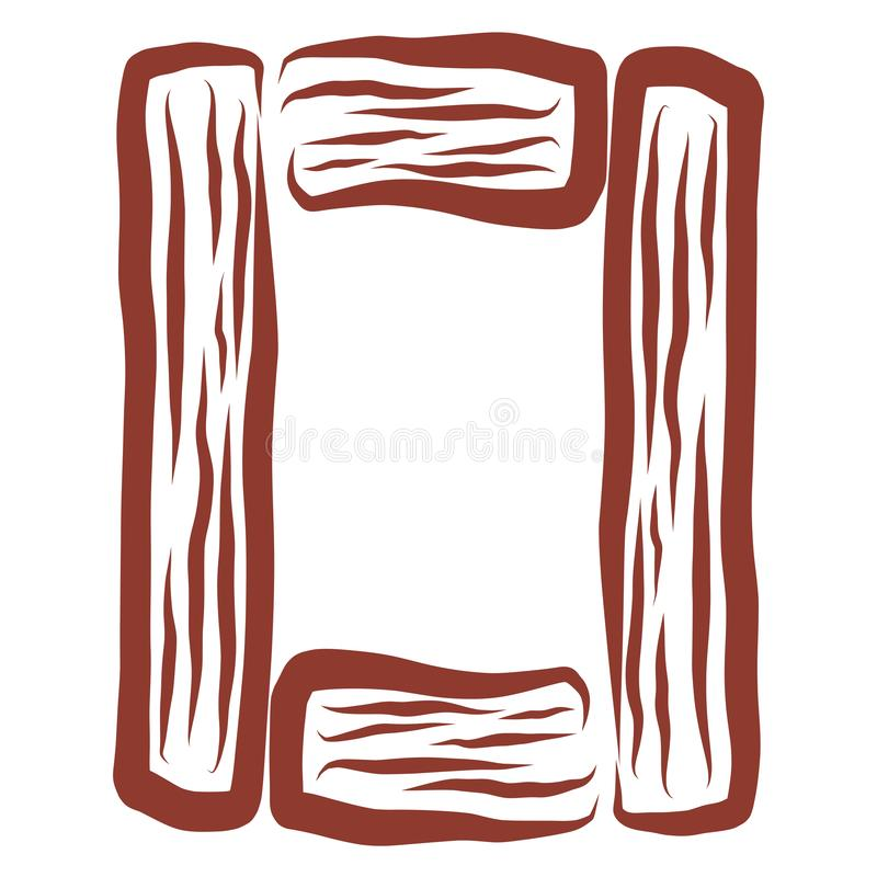 Prostokątny brązu list o od kawałków drewno royalty ilustracja