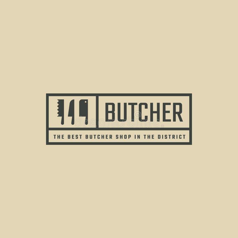 Prostokątny czarny logo dla mięsnego sklepu Modniś kreskowej sztuki logotyp z nożami ilustracji
