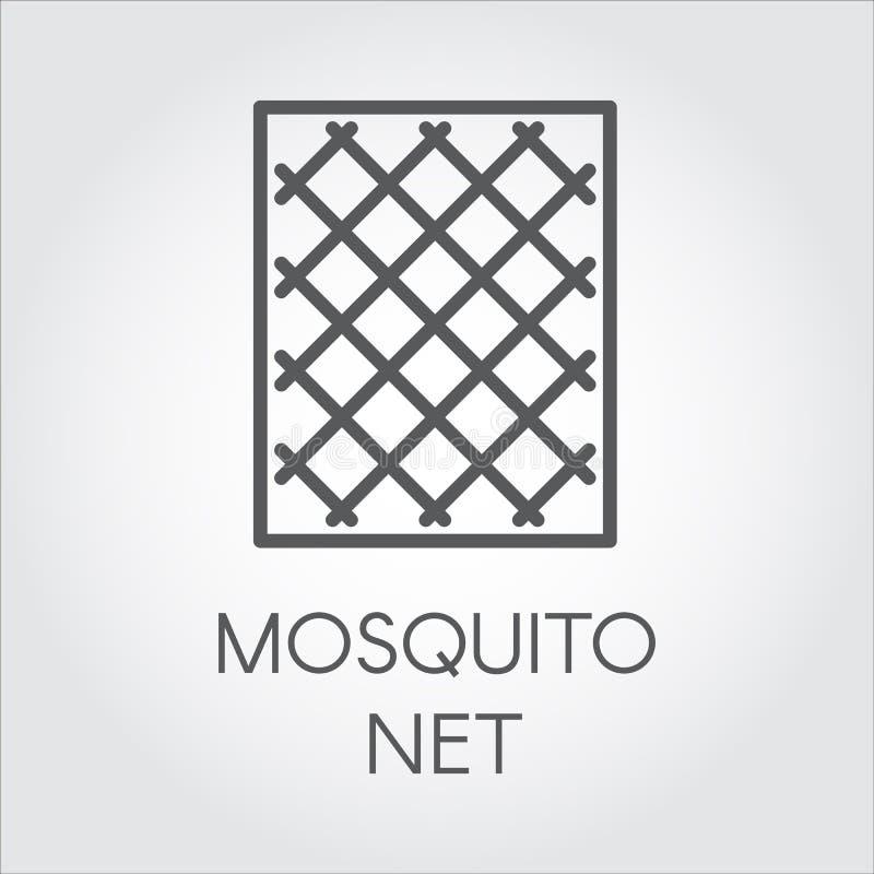 Prostoty ikona w liniowym stylu komar sieci dla okno Pojęcie ochrona od insektów postać z kreskówki śmieszny ilustratora ołówek p royalty ilustracja