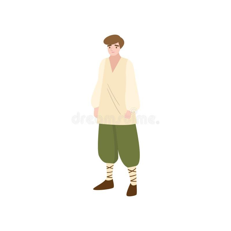 Prosty średniowieczny bajka oracz w zielonych spodniach ilustracja wektor