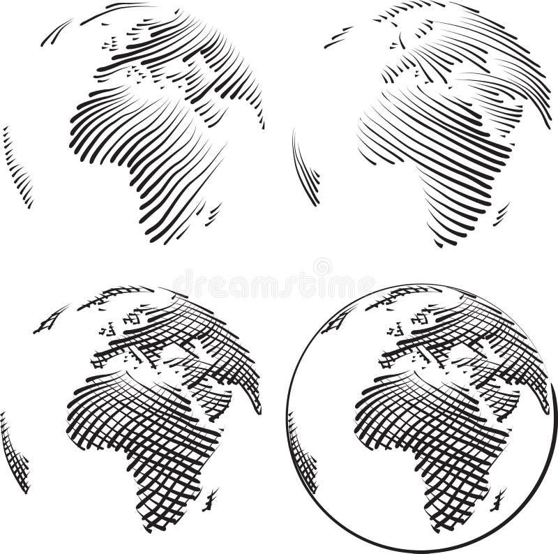 Prosty Światowy rytownictwo ilustracja wektor