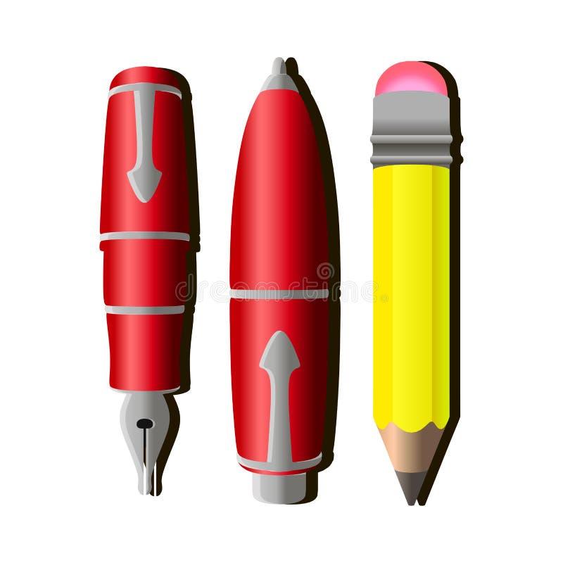 Prosty żółty ołówek i czerwony pióro wektor ilustracja wektor