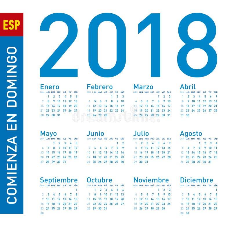 Prosty błękita kalendarz dla roku 2018 W hiszpańszczyznach, tydzień ilustracja wektor