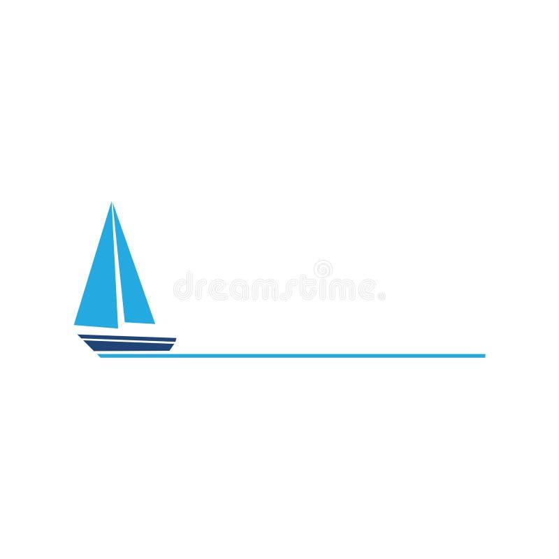 Prosty Błękitny żeglowanie łodzi ikony symbolu logo royalty ilustracja