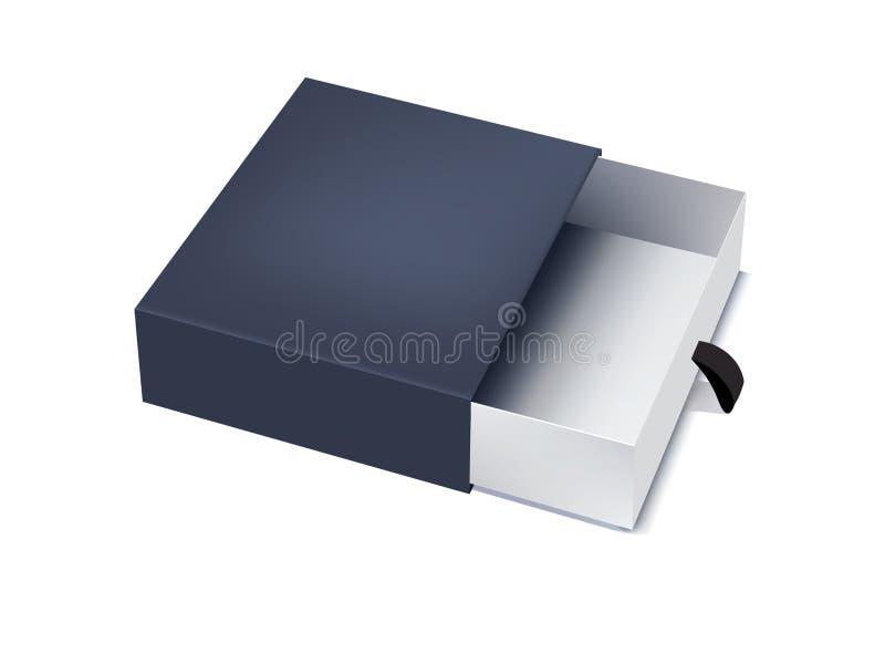 Prosty błękitny pudełko - pakujący, odizolowywający royalty ilustracja