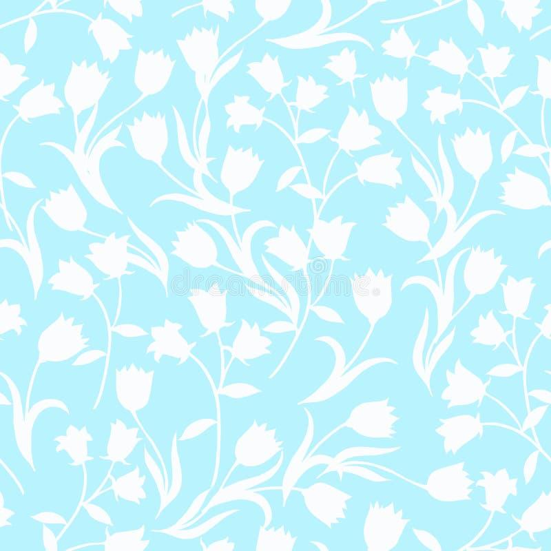 Prosty bezszwowy kwiecisty wz?r Białego kwiatu onament na popielatym tle ilustracja wektor