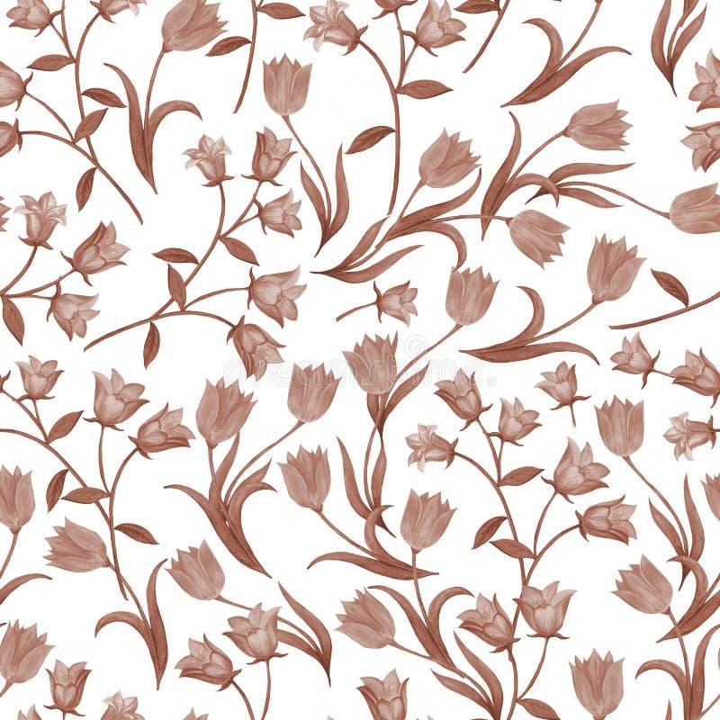 Prosty bezszwowy kwiecisty wz?r Monochromatyczny kwiatu onament na białym tle ilustracja wektor