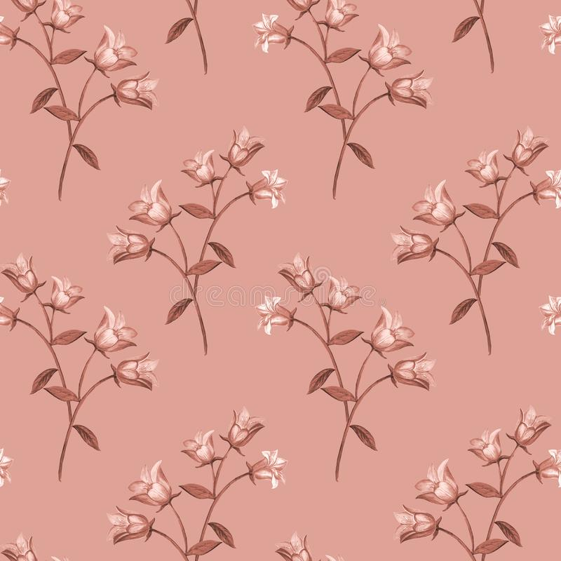 Prosty bezszwowy kwiecisty wz?r Monochromatyczny kwiatu onament na różowym tle ilustracja wektor