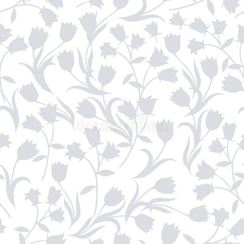 Prosty bezszwowy kwiecisty wz?r Siwieje kwiatu onament na białym tle royalty ilustracja