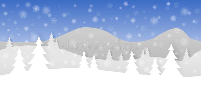 Prosty bezszwowy papierowy rżnięty zima wektoru krajobraz z płatowatymi górami, drzewami i spada płatek śniegu na błękitnym tle, royalty ilustracja
