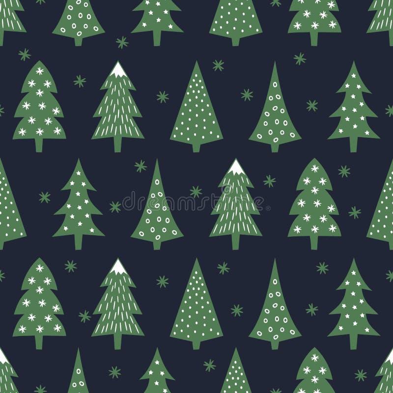 Prosty bezszwowy retro boże narodzenie wzór - zróżnicowani Xmas drzewa, płatki śniegu i ilustracja wektor