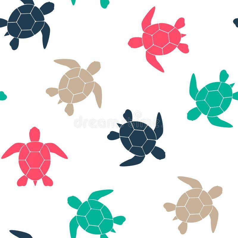 Prosty bezszwowy tło z sylwetką żółw na białym tle również zwrócić corel ilustracji wektora wektor royalty ilustracja