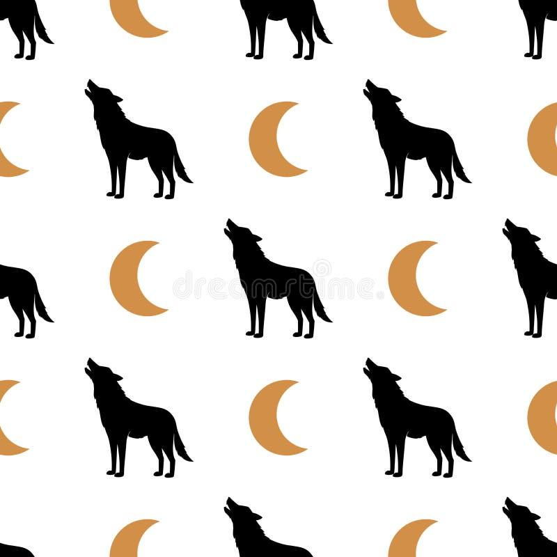 Prosty bezszwowy tło z wilka i księżyc wizerunkiem czarne złoto wektor wzór Vectoral ilustracja ilustracji