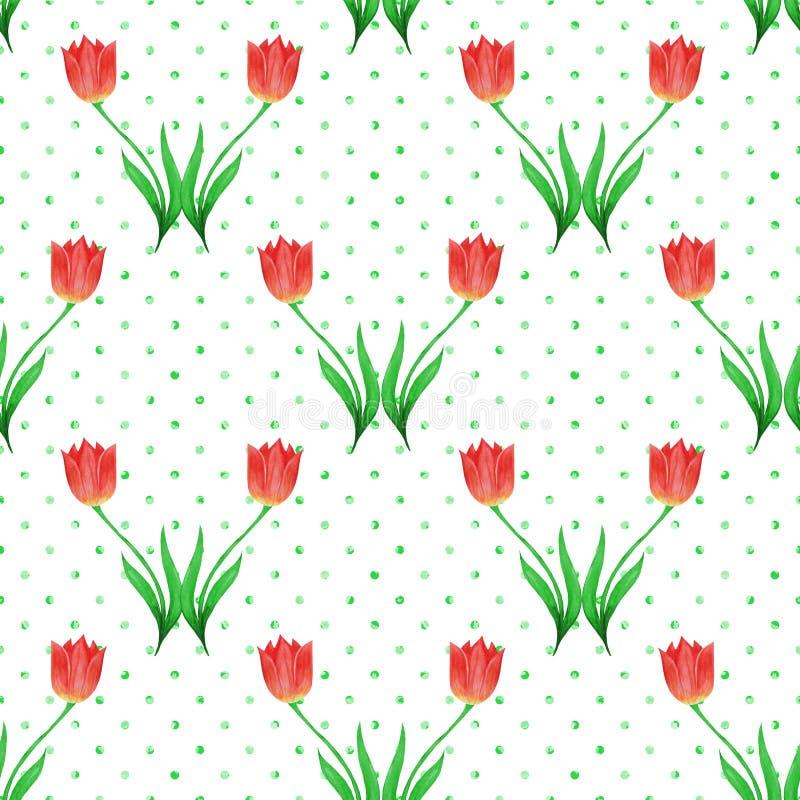 Prosty bezszwowy wzór tulipany odizolowywający na białym tle Zielona polki kropka ilustracji