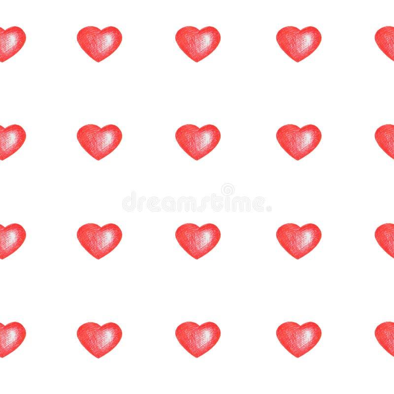 Prosty bezszwowy wzór z czerwonymi sercami odizolowywającymi na bielu royalty ilustracja