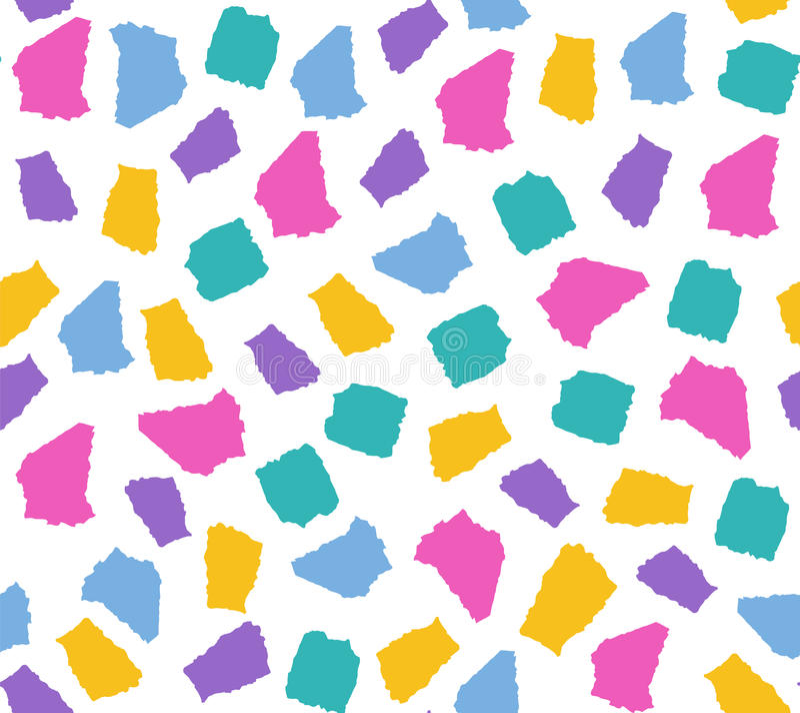 Prosty bezszwowy wzór z kolorowymi drzejącymi papierów kawałkami ilustracja wektor