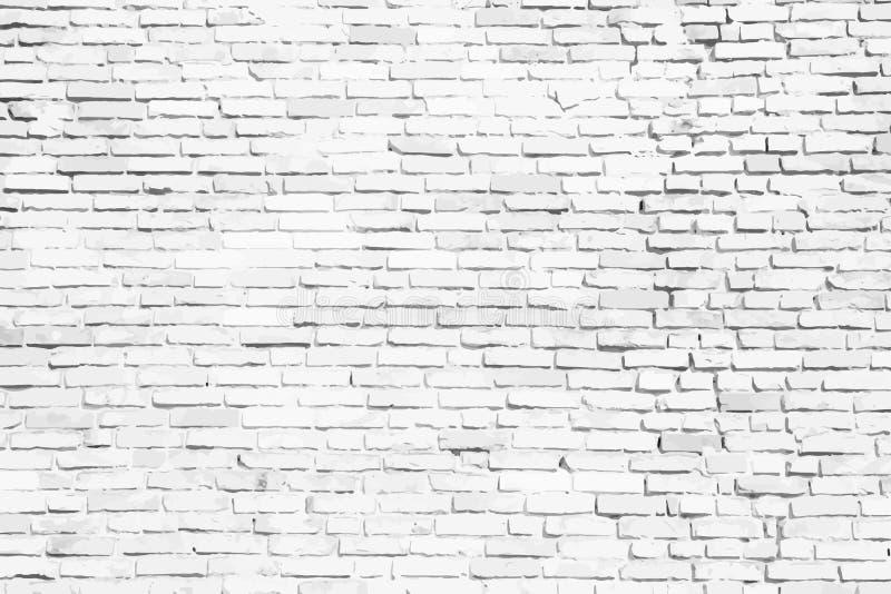 Prosty biały i popielaty ściana z cegieł jako bezszwowy powierzchnia wzoru tekstury tło jako wektorowa ilustracja royalty ilustracja