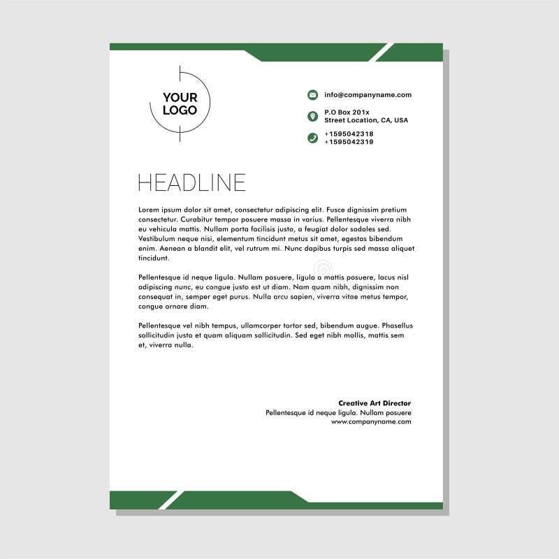 Prosty biznesowy letterhead zieleni premii wektor royalty ilustracja