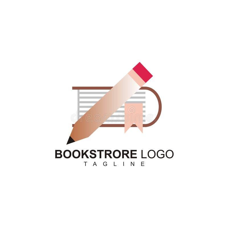 Prosty bookstore logo z małym ołówkowym projektem ilustracja wektor