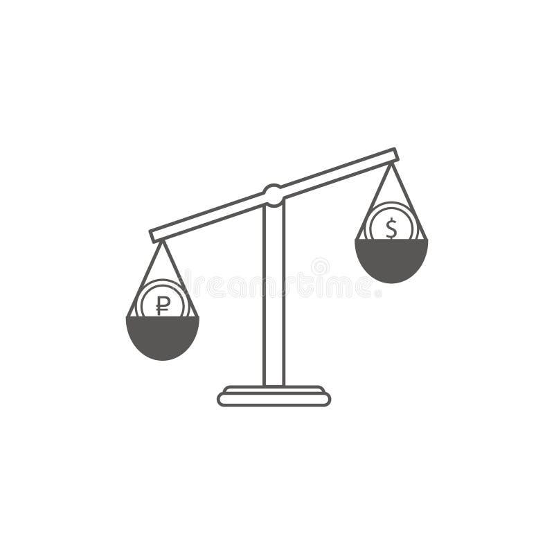 Prosty Businessi Finansowa Wektorowa Flatikona Klasyk waży dwa waluty dolarowej i euro Mieszkanie stylowa ikona  ilustracji