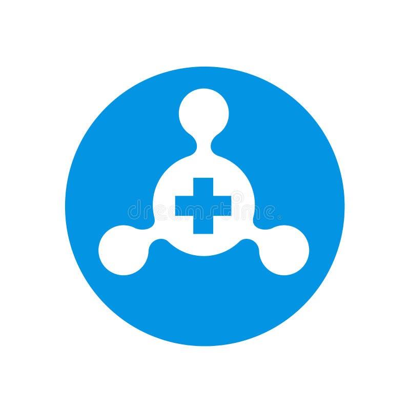 Prosty centrum sieci związek Łączył Z Pozytywnym symbolem, Błękitny wektorowy ikona projekt ilustracja wektor