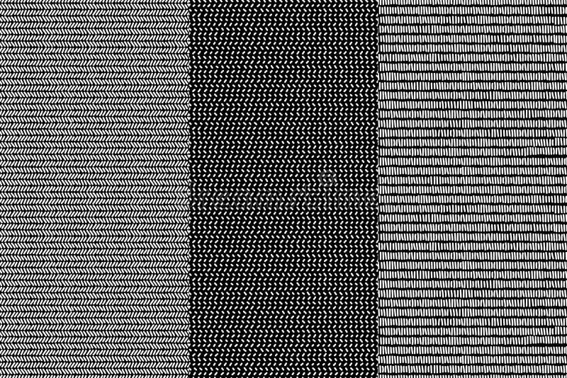 Prosty czarny i biały doodle wykłada herringbone i paskujących geometrycznych bezszwowych wzory ustawiających, wektor ilustracja wektor