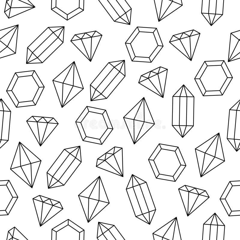 Prosty czarny i biały drut obramiał diamentowych kryształy bezszwowy wzór, wektor royalty ilustracja