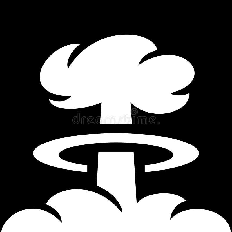 Prosty, czarny i biały grzyba atomowego wybuch bomby atomowej, ilustracja wektor