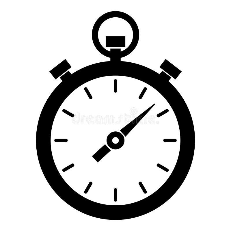Prosty, czarny i biały zegar, stopwatch ikona/ Odizolowywający na bielu royalty ilustracja