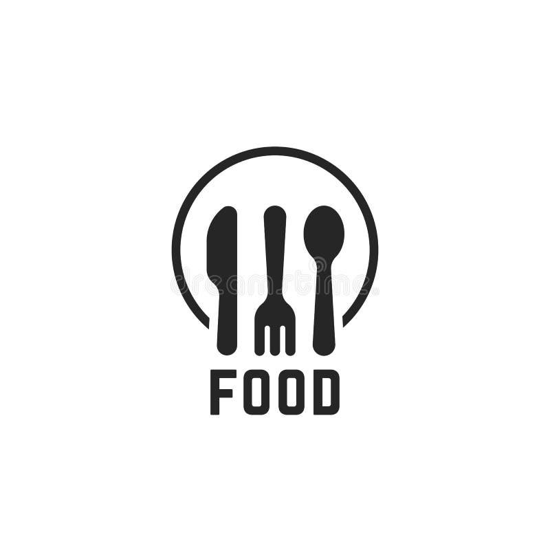 Prosty czarny karmowy logo z kitchenware ilustracji
