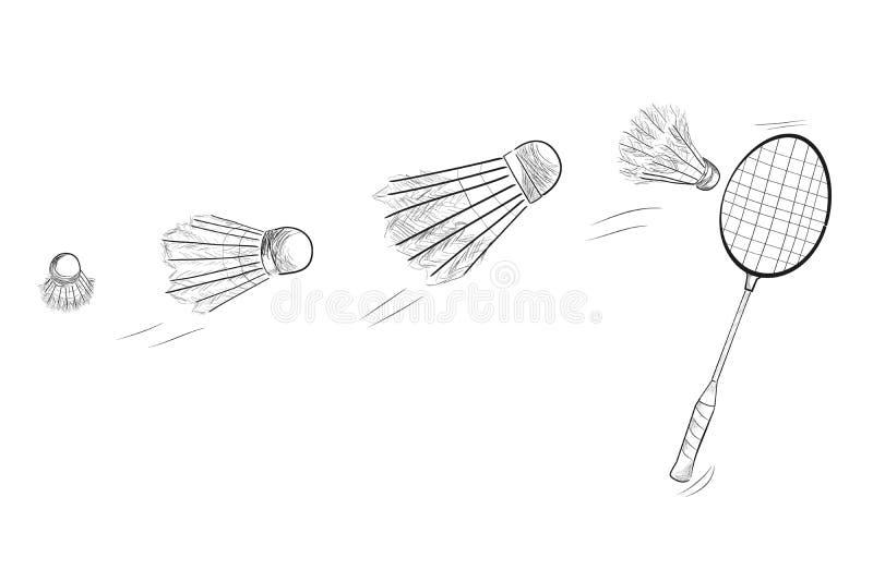 Prosty Czarny nakreślenie Badminton kant i Szybki Poruszający Shuttlecock ilustracja wektor