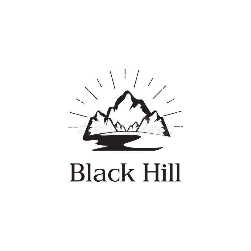 Prosty, czysty, elegancki logo góry, wzgórza, rzeki i słońca, projektuje wektorową ikony ilustracji inspirację ilustracja wektor