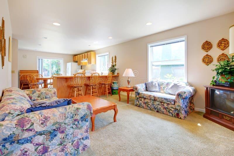 Prosty długi żywy pokój z kuchennymi i starymi kanapami. fotografia royalty free