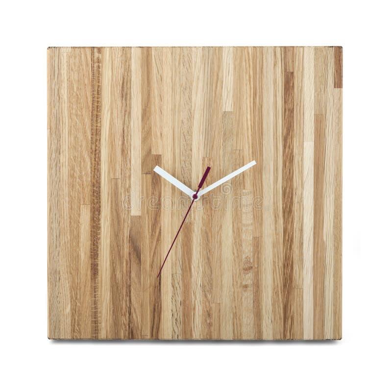 Prosty drewniany ścienny zegarek - Kwadratowy zegar odizolowywający fotografia royalty free