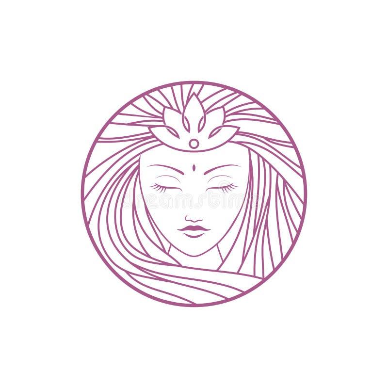 Prosty elegancki monoline goddes logo projekt obrazy stock