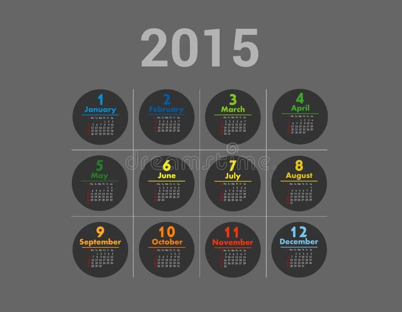 Prosty europejczyk 2015 rok wektoru kalendarz ilustracja wektor