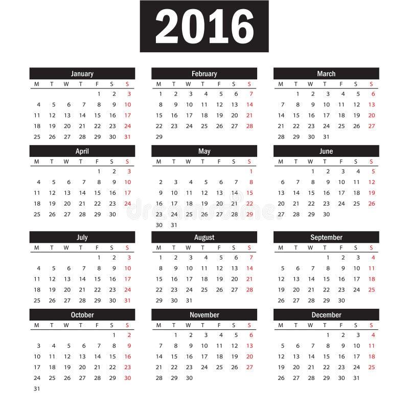 Prosty europejczyk 2016 rok wektoru kalendarz royalty ilustracja