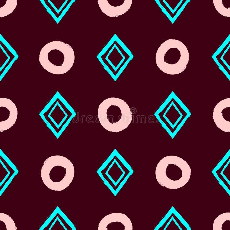 Prosty geometryczny bezszwowy wzór z powtarzać okręgi i rhombuses rysujących ręką z szorstkim muśnięciem royalty ilustracja