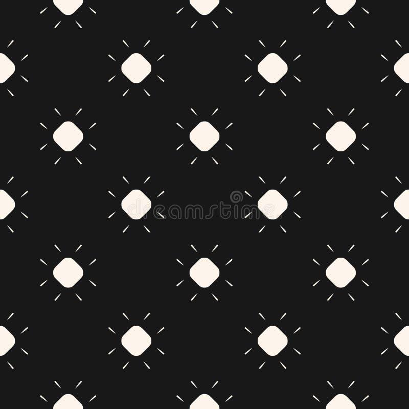 Prosty geometryczny czarny i biały wektorowy bezszwowy wzór z małymi kwiatami ilustracji